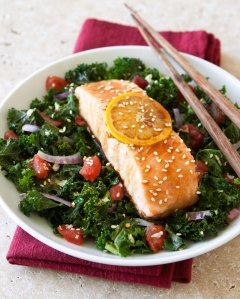 Asian Salmon with Kale & Tomatoes